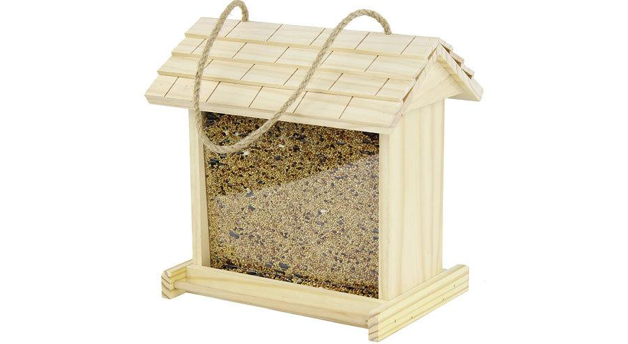 Gardirect Wooden Bird Seed Feeder, Log Cabin Bird Feeder